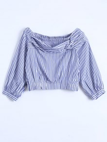 Off Shoulder Striped Elastic Hem Top