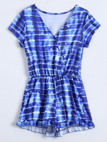 Striped Ruffle Hem Surplice Romper - Blue Xl