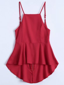 Slip Low Back Peplum Top - Red L