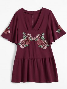 Embroidered Floral Ruffle Hem Dress - Wine Red M