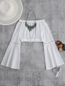 Off Shoulder Flare Sleeve Crop Top - White M