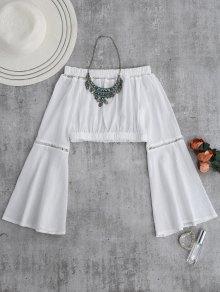 Hombro Camisa Corta De La Manga De La Llamarada - Blanco Xl