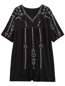 Ethnic Embroidered Shift Dress