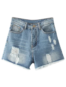 Cutoffs Distressed Denim Shorts - Light Blue 27