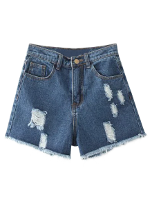 Distressed Denim Shorts Coupé En Short - Bleu Foncé 26