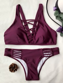 Ensemble Bikini Paddé Avec Laçage Cruciforme - Bourgogne M