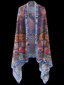 Printed Open Front Kimono Cape