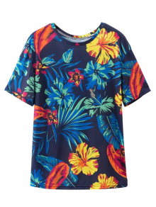 Loose Tropical Print T-Shirt