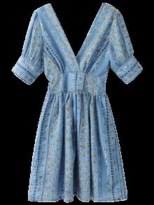 Impreso Doble V Una Línea De Vestidos - Azul
