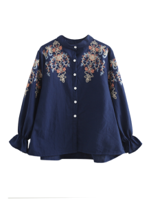 Embroidered Flare Sleeve Shirt