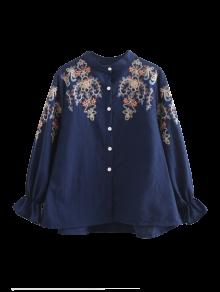 Embroidered Flare Sleeve Shirt - Purplish Blue S