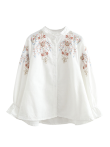 Embroidered Flare Sleeve Shirt - White S