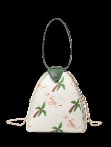 Triangle Shaped Palm Print Wristlet Bag - White