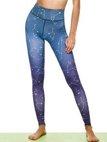 Constellation Print Stirrup Leggings - Purple