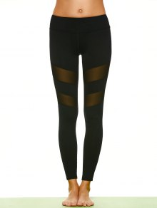 Mesh Insert Sports Leggings - Black