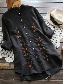 Floral Embroidered Button Up Linen Shirt