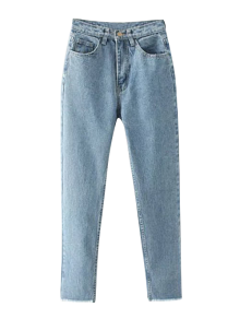 Tapered Frayed Hem Jeans - Light Blue