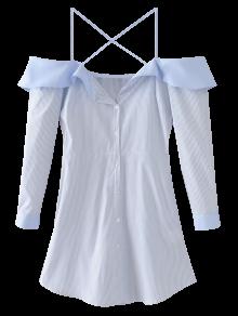 Flounced Cold Shoulder Casual Dress