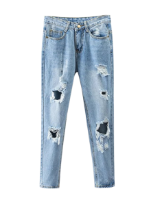 Bleach Wash Ripped Tapered Jeans - Denim Blue L