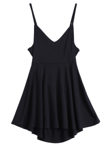 Backless Lace Up Skater Dress - Black M