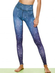 Constellation Print Stirrup Leggings - Purple L