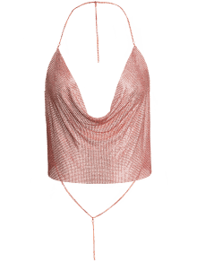 Drapé Crop Metal Top Pour Party - Or Rose M