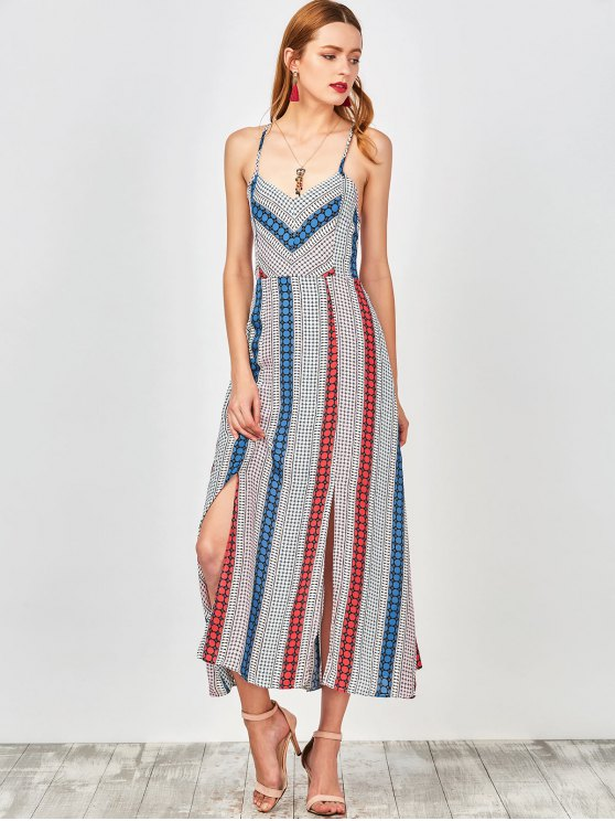 Geometry Print Slip Lace Up Holiday Dress - COLORMIX S Mobile