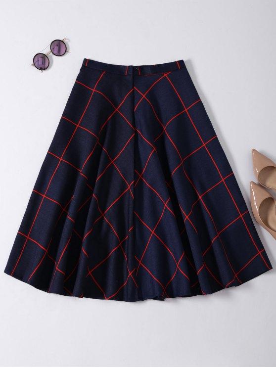 A Line Midi Plaid Skirt - PURPLISH BLUE M Mobile