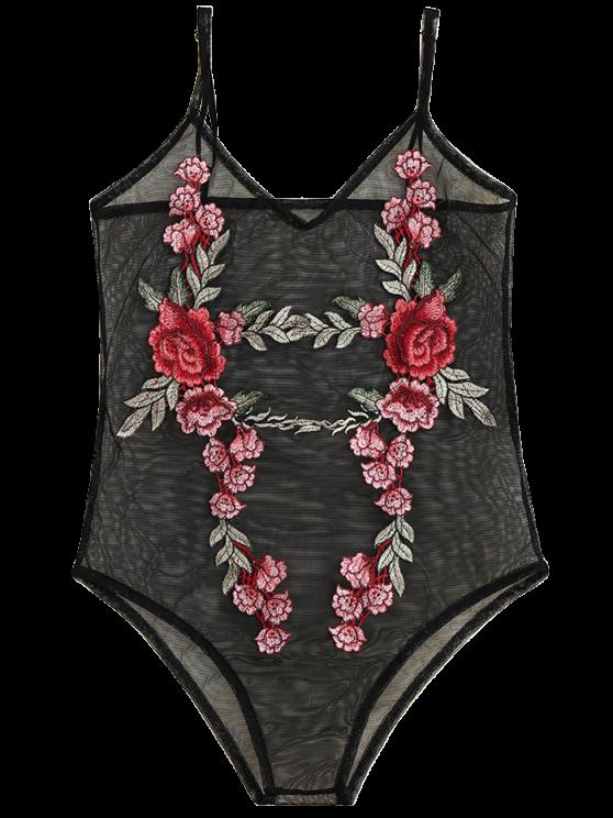 Floral Patch Sheer Mesh Bodysuit - BLACK XL Mobile