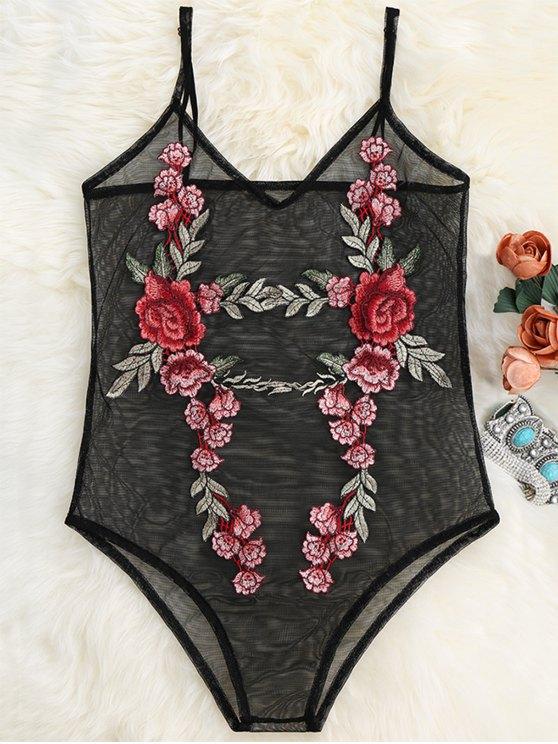 Parche de malla transparente floral Body - Negro L