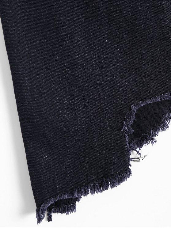 Asymmetric Frayed Hem Denim Skirt - BLACK S Mobile