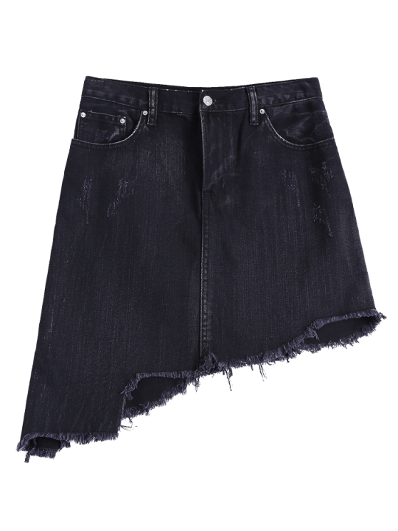 buy Asymmetric Frayed Hem Denim Skirt - BLACK S