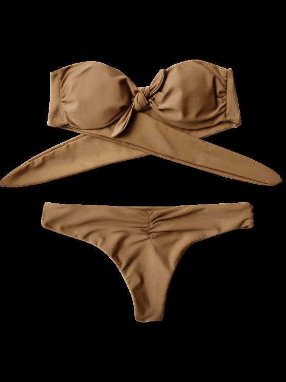 Front Knot Bandeau Bikini Set - LIGHT COFFEE M Mobile