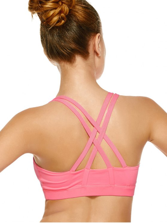 Strappy Crossover Sports Bra - PAPAYA S Mobile