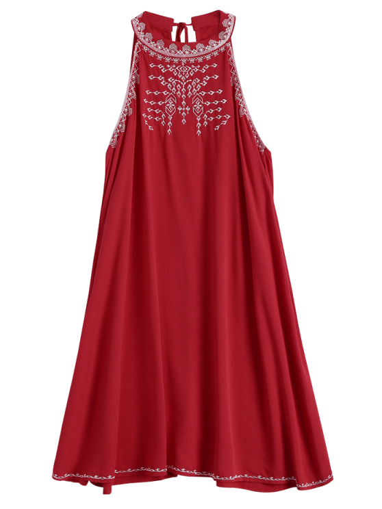 Embroidered Sleeveless Flowing Dress - RED M Mobile