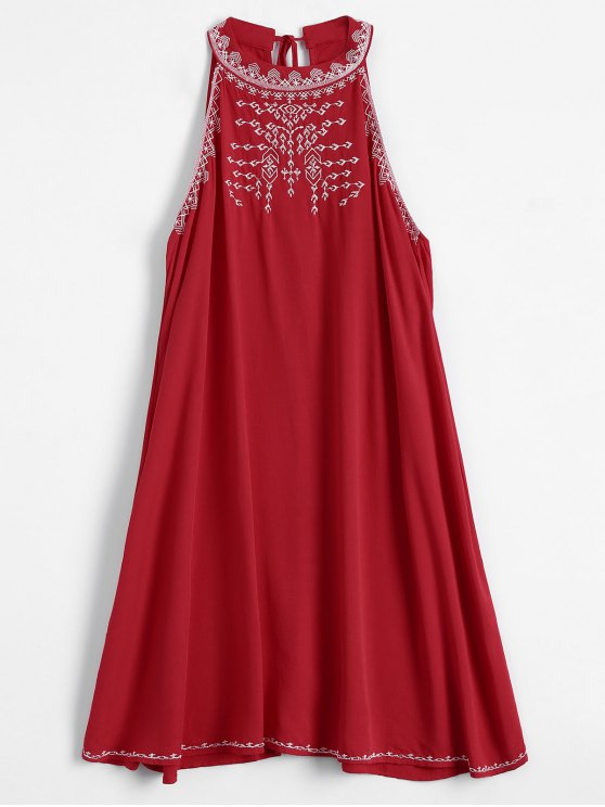 latest Embroidered Sleeveless Flowing Dress - RED L