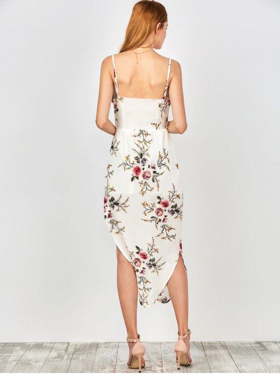 Slip Floral Drawstring Waist Asymmetric Holiday Dress - WHITE S Mobile