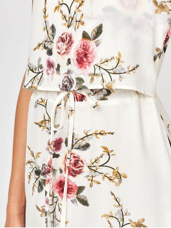 Slip Floral Drawstring Waist Asymmetric Holiday Dress - WHITE XL Mobile