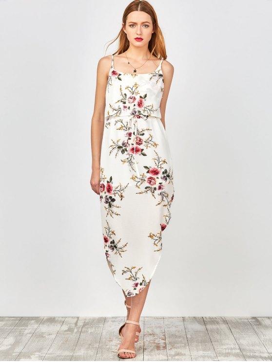 Slip Floral Drawstring Waist Asymmetric Holiday Dress - WHITE M Mobile