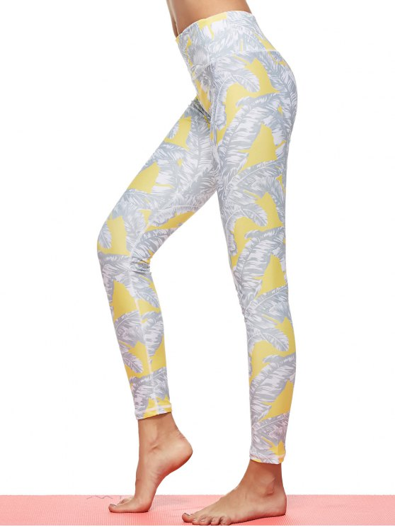 Tropical Leaf Print Sports Leggings - GRAY L Mobile