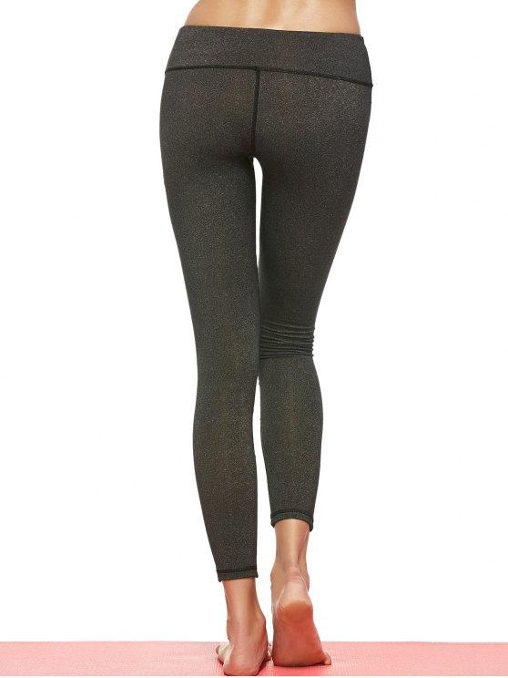 Geometric Mesh Panel Sheer Sports Leggings - DEEP GRAY L Mobile