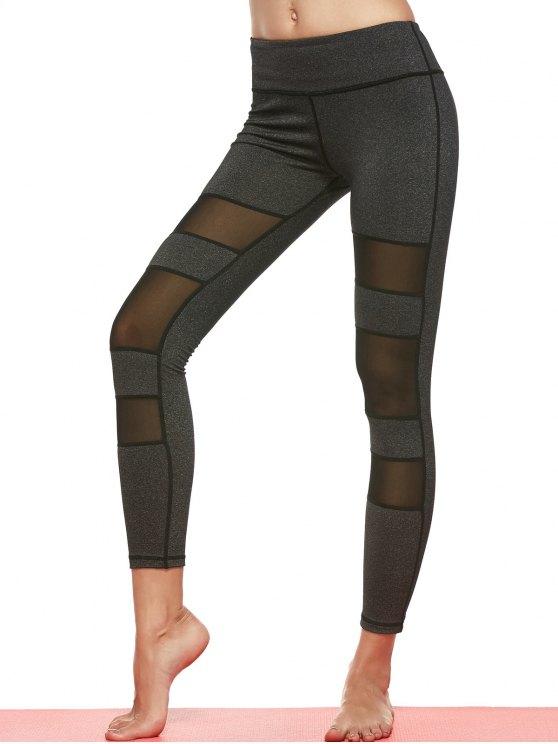 buy Geometric Mesh Panel Sheer Sports Leggings - DEEP GRAY M
