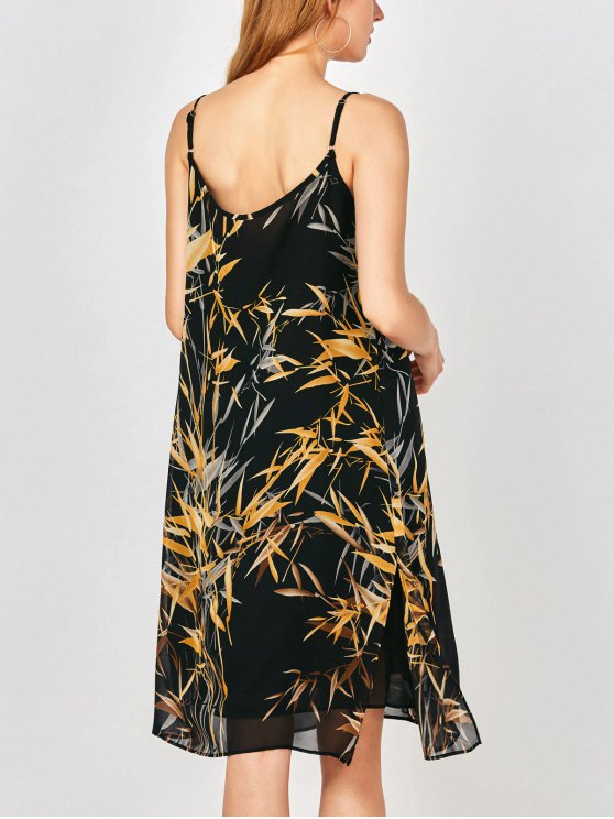 Slip Print Side Slit Chiffon Holiday Dress - EARTHY XL Mobile