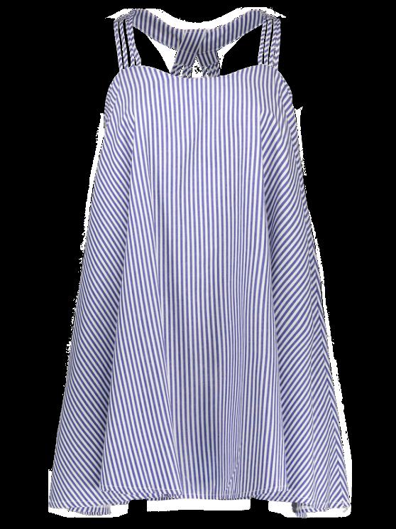 Multi Straps Striped Trapeze Dress - BLUE AND WHITE S Mobile