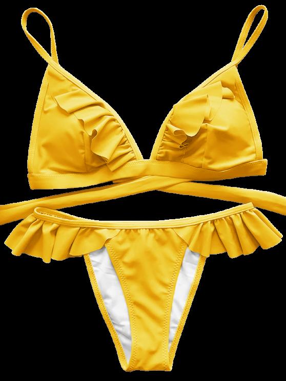 Cami Frilly High Leg Bikini - YELLOW M Mobile