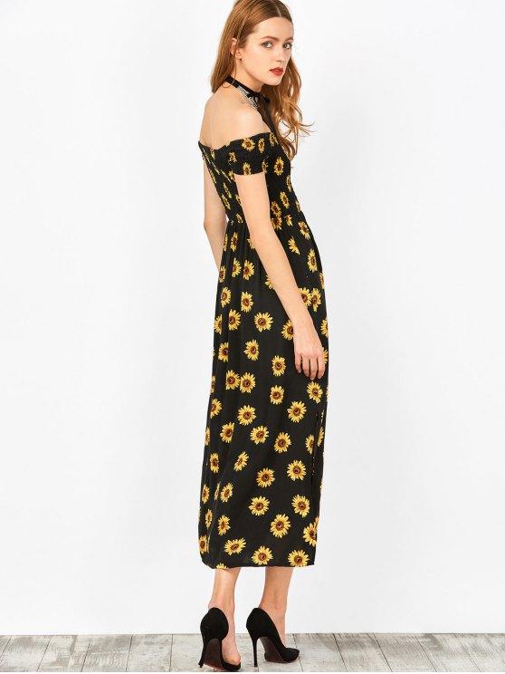 Sunflower Print Off Shoulder Smocked Slit Dress - BLACK XL Mobile