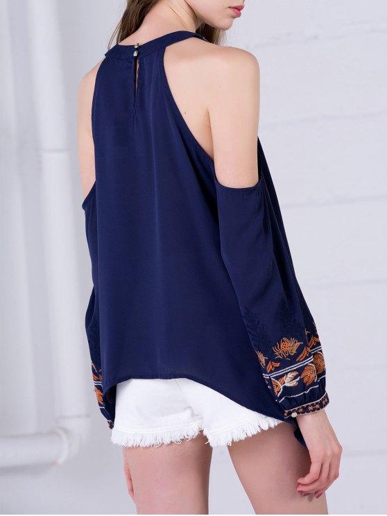 Embroidered Cold Shoulder Blouse - PURPLISH BLUE S Mobile
