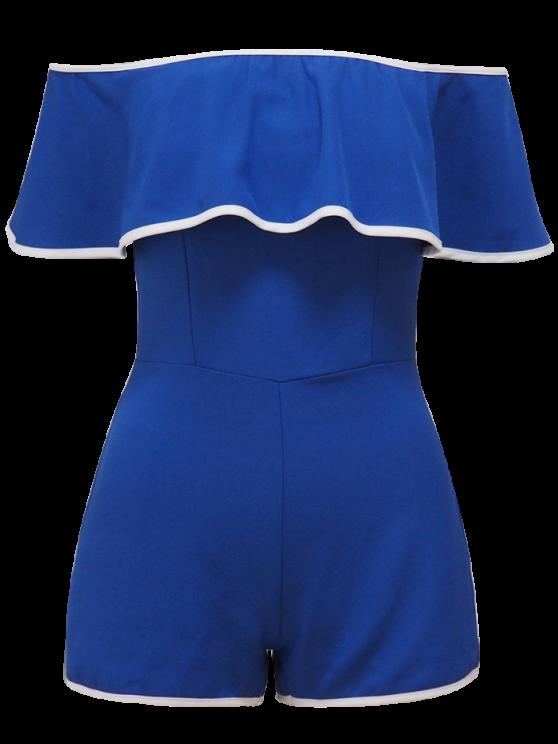 Off The Shoulder Ruffles Romper - BLUE S Mobile
