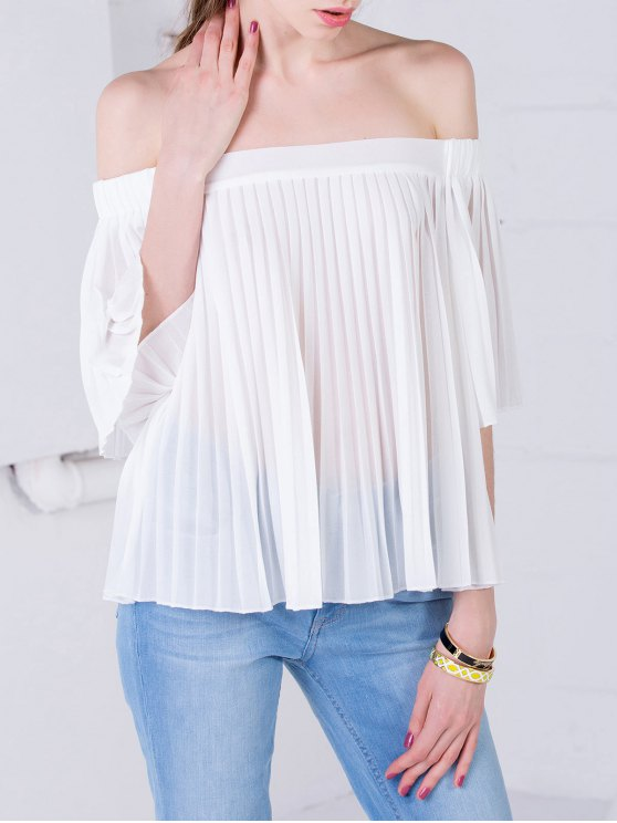 trendy Off The Shoulder See-Through Top - WHITE S