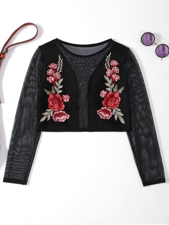lady Sheer Mesh Floral Embroidered Crop Top - BLACK M